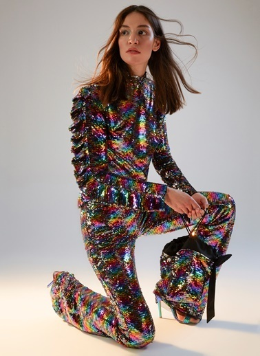 morhipoxsudi etuz Renkli Payetli İspanyol Paça Pantolon Renkli